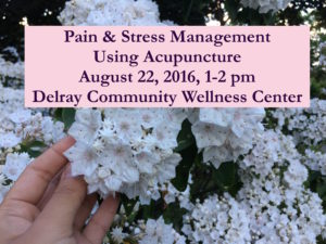boca raton acupuncture clinic stress lecture